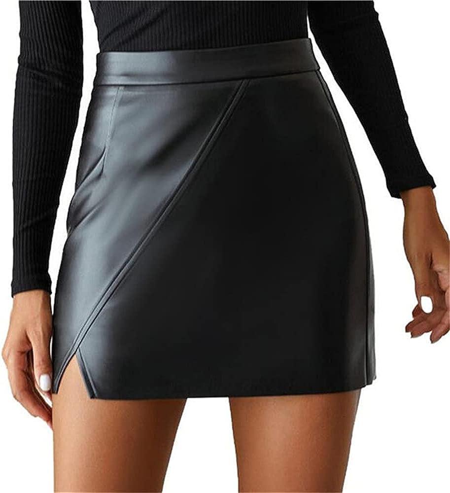 High Waist Split Leather Women's Mini Skirt Black Female Short