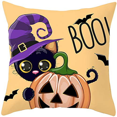 KunLS Halloween Cushion Cover Cushion Covers 18 X 18 Inches Scary Night Trick Or Treat Pillow Cover, Happy Halloween Sofa Bed Throw Cushion Cover Decoration Cafe Home Decorative 45x45,16