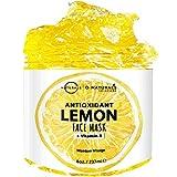 Lemon Face Brightening & Radiance Gel Mask Vitamin B Vegan Hydrating Acne Fighter Moisture Repair Antioxidant Anti-Aging for All Type Skin Natural Organic Ingredients Hyaluronic Acid for Men-Women 8oz