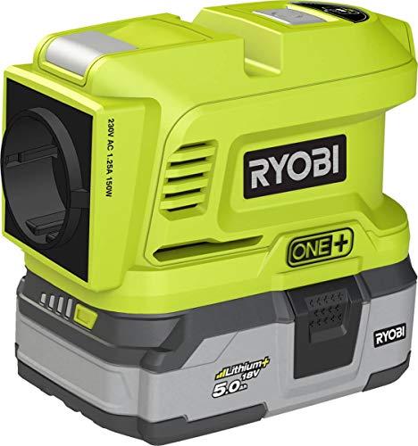 RYOBI Inversor de batería de 18 V - 150 W continuo, máx. 300 W - 2 x 2,4 A 5 V USB-A - Ideal para el uso diario, viajes, jardín o excursiones - Sin batería ni cargador