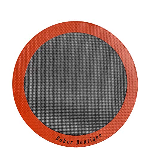 Perfect Pizza Mat Silicone Baking Cake Liner, 12' Round Heat Resistant Toaster Pad, Reusable Non-stick Perforated Steaming Mesh for Bread/Cookie/Pastry (Orange)