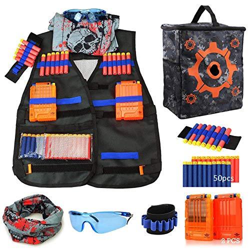 Taktische Weste Jacke Set Für Nerf N-Strike Elite Blaster Toy Gun mit 50Pcs Darts Kugeln,Target Pouch Aufbewahrungstasche,2 Quick Reload Clips,2 Armbänded,Gesichtsmaske & Goggle,Taktische Weste(B)