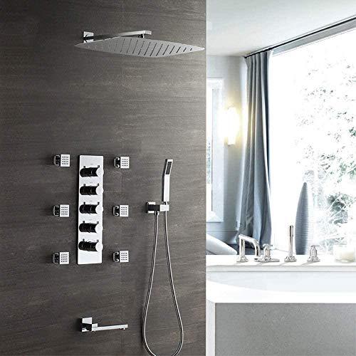 Ducha termostática oculta Caja preincrustada de cobre montada en la pared 350550 Juego de grifos de ducha con rociador superior Hermoso y práctico