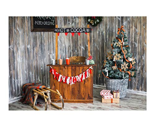 Laeacco 7x5FT Colorful Festively Decorated Interior Christmas Holiday Celebration Background Hot Cocoa Photography Background Wooden Walls Winter Sleigh Blanket Xmas Tree Wrapped Gift Boxes Background