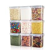 Airtight Food Storage Containers 9 Pieces 1.5qt / 1.6L- Plastic PBA Free Kitchen