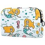 Bolsa de maquillaje grande con cremallera, bolsa de viaje, bolsa cosmética para mujeres y niñas, océano, peces de mar, sirena, caballito de mar