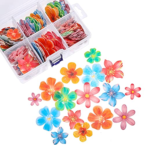 314 Pieces Flowers Cupcake Toppers Wedding Cake Wafer Flowers Cupcake Toppers Birthday Party Food Decoration Mixed Size and Colors