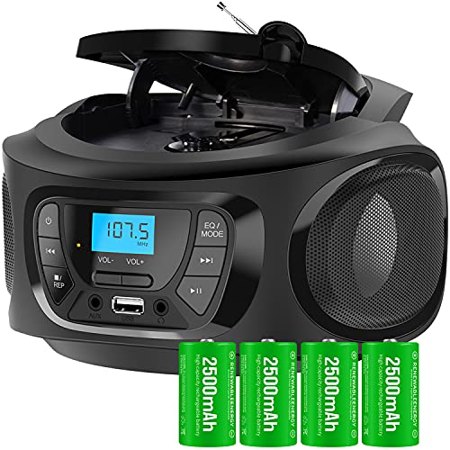 KLIM Boombox Portable Audio System. FM Radio, CD Player, Bluetooth, MP3, USB, AUX + Includes Rechargeable Batteries + Wired & Wireless Modes + Compact and Sturdy + 2021