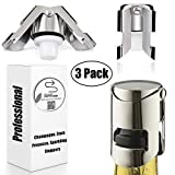 Champagne Sealer Stopper, BGMAX 3 Pack Stainless Steel Sparkling Wine Bottle Plug Sealer Set with a Longer Sealing Plug,...