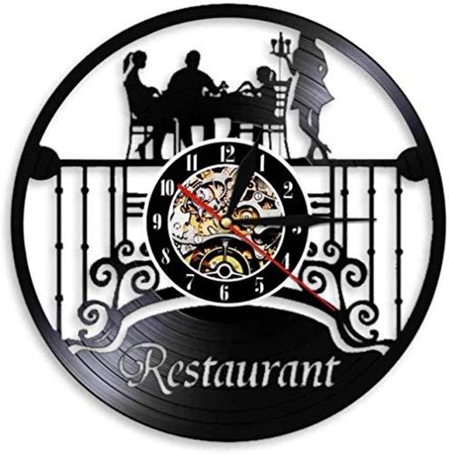 hxjie Restaurante Negocio Logo decoración de Pared Cocina Disco de Vinilo Registro Reloj de Pared Chef Restaurante de Comida diseño Retro Reloj Brillante
