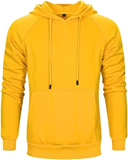WUFAN Mens Solid Colored with Hood Pockets Luxury Pullover Shirts Top
