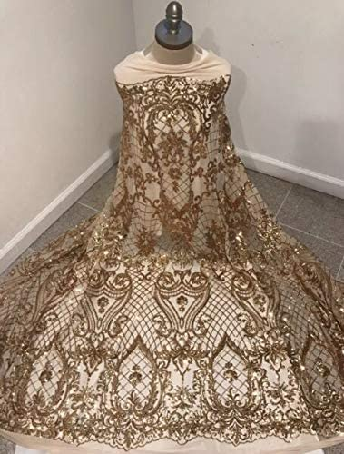 """JOELLE Max 88% OFF STORE security Gold 4way stretch sequin Lace fabric Width 50"""" Sold"""