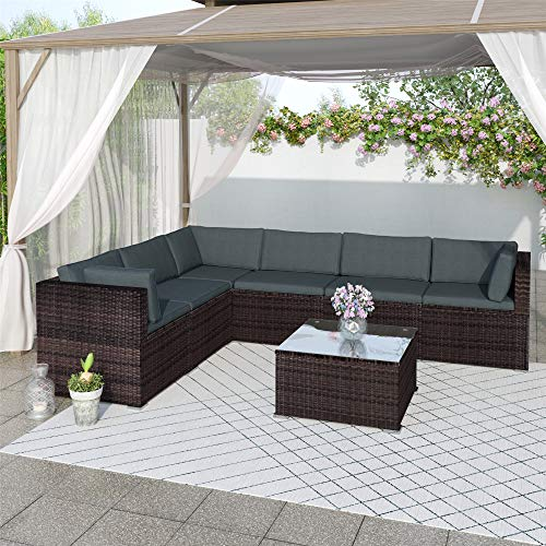 7 Pieces Outdoor Furniture Patio Furniture Sets All Weather PE Wicker Rattan Outdoor U Shaped Sectional Sofa, Outdoor Sectional Conversation Set with Soft Cushions and Coffee Table (Brown + Rattan)