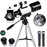 TPSKY Astronomical Telescope, Portable Travel Telescope,Refractor Telescope, Monocular Telescope for Planet Watching, HD Space Telescope with Tripod,Phone Clips,Telescopes Set for Kids Beginners