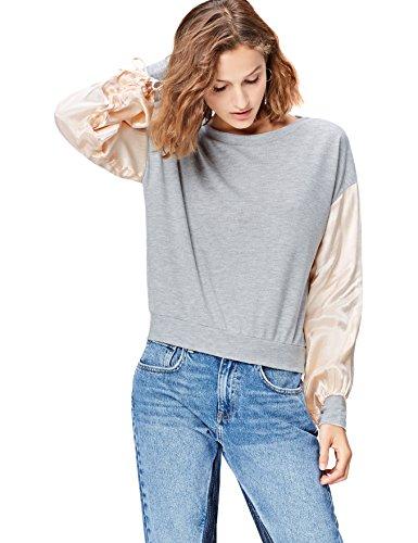 find. Sweatshirt Damen Puffärmel und Colour-Blocking-Design, Grau (Grey Mix), 40 (Herstellergröße: Large)