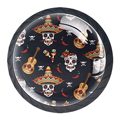 TIZORAX Schubladenknauf, mexikanische Totenköpfe mit Gitarre, rund, für Küchenschränke, Schränke, Kommoden, Türen, Heimdekoration, 4 Stück