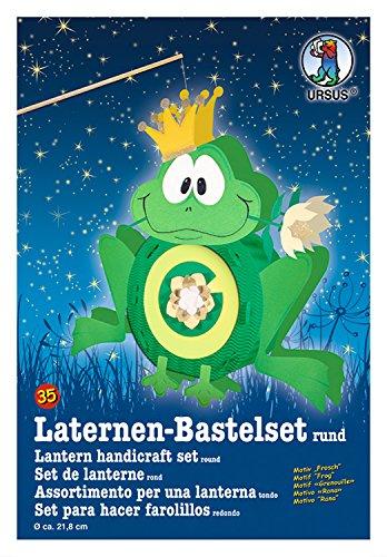 Ursus 18700035 - Laternen Bastelset, Frosch, ca. 21,8 x 21 x 10,3 cm, Durchmesser ca. 21,8 cm, inklusive Vorlagebogen mit Bastelanleitung, zum Selbstgestalten, ideal für den nächsten Laternenlauf