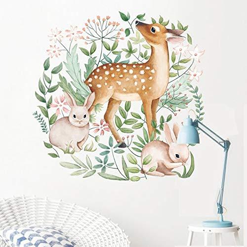 New Wall Stickers Sika Deer Rabbit Garland for Living Room Bedroom Door Warm Artistic Fresh Art Mural