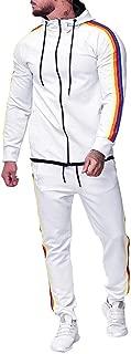 Men's Tracksuit Patchwork Hooded Sportswear Sweatshirt Zippers Sweatpants 2 Piece Track Suits Jacket Pants Set