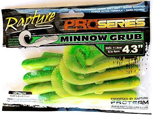 Rapture Minnow Grub 4.3   11cm Colore Lime Yellow Silver & Black Flake - luccio e Black Bass