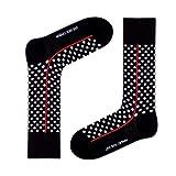 Men's premium black and white polka dots dress socks. Groomsmen socks. Red Line Black