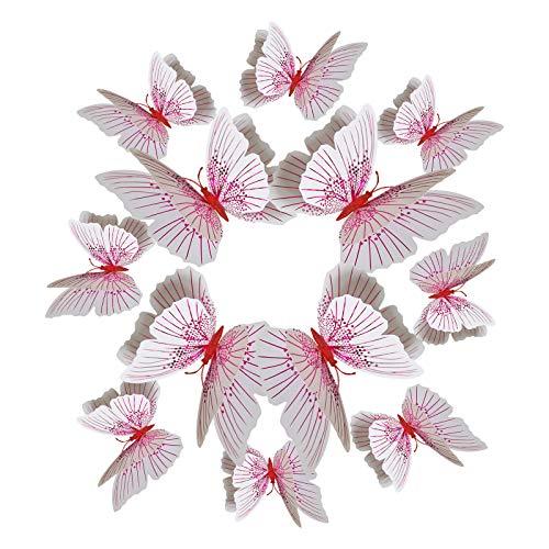 XQK Pegatinas De Pared Extraíbles Calcomanías De Espejo De Arte 3D Mariposas Magnéticas para La Decoración De La Boda del Aula del Hogar