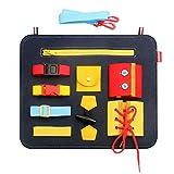 Phoetya - Tavoletta da gioco in feltro per bambini, motivo: Montessori Sensoriali, per imparare le abilità di base con bottoni e cerniere, con fibbie, bastone magico per bambini educativi precoci