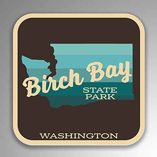JMM Industries Birch Bay State Park Washington Vinyl Decal Sticker Retro Vintage Look 2-Pack 4-inches by 4-inches Premium Quality UV Protective Laminate SPS170
