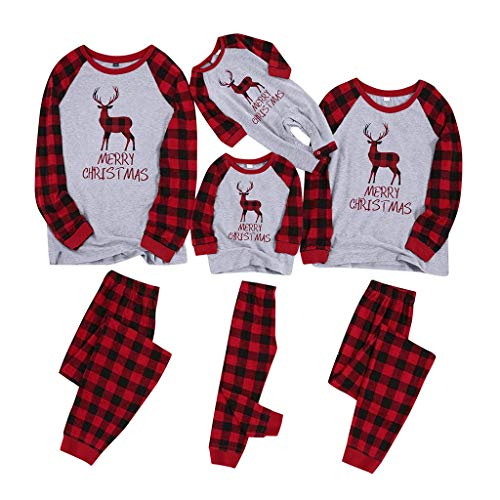 SERYU Christmas Family Pajamas Matching Sets Classic Plaid Letter and Plaid Printed Reindeer Pajama Collection Loungewear