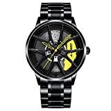DriftElement Nitro Felgenuhr Herren - M3 Sportwagen Männer Armbanduhr im 3D Design der Y-Speichen Performance Felge aus Edelstahl - Custom Designer Uhr mit Mineralglas - Quarzuhr