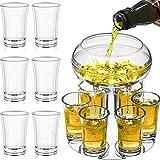 YOVINN - Dispenser per bicchieri e 6 bicchierini da liquore, con 6 dispenser per cocktail e supporto, dispenser trasparente per bar, ideale come regalo per feste