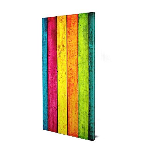 banjado Design Magnettafel groß | Magnetwand grau 78x37cm grau | Pinnwand magnetisch mit Magneten und Montageset | Magnetpinnwand mit Motiv Bunte Holzlatten