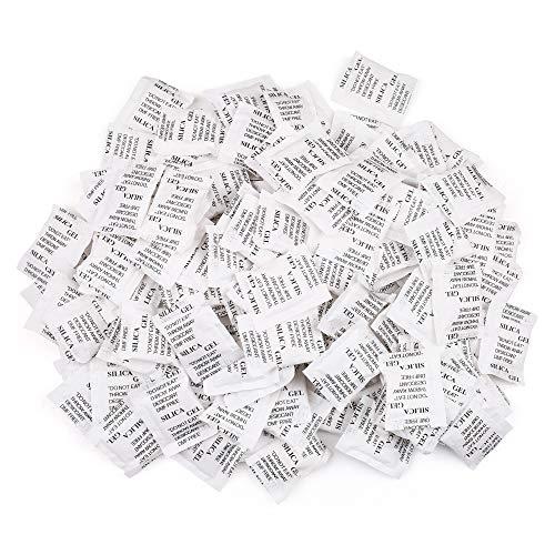 LotFancy Bolsas de Gel de Sílice, 2g x 150 Paquetes Desecantes de Humedad, No Tóxico, Inodoro, Seguro,Empaques Nuevos y Viejos al Azar