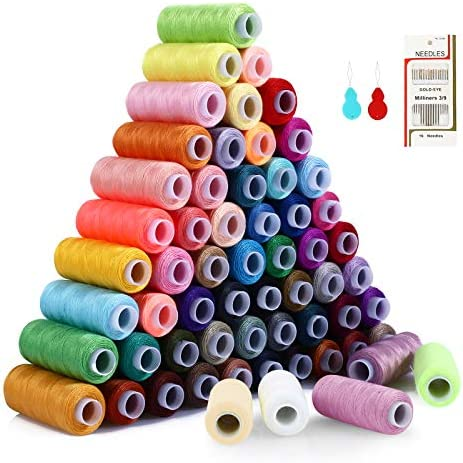 Sewing Thread Polyester Thread Kit 60 Colors Total 15000 Yards Length Spool with 2 Needle Threaders product image