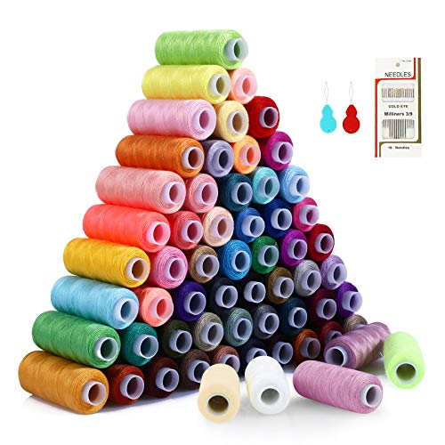 Sewing Thread Polyester Thread Kit 60 Colors(Total 15000 Yards) Length Spool with 2 Needle Threaders and 16 Needles for Sewing and Manual Machines