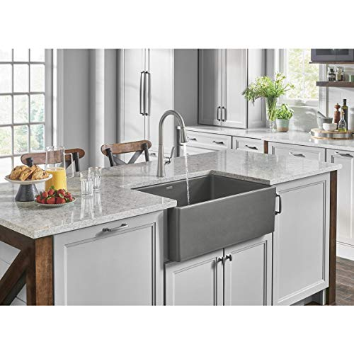 Elkay SWUF28179MG Fireclay 30' x 19-15/16' x 9-1/8', Single Bowl Farmhouse Sink, Gray