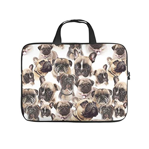 Multifunctional Pug Dog Carry On Handle Case Laptop Sleeve Case Protective Bag - for Notebook White 15 Zoll