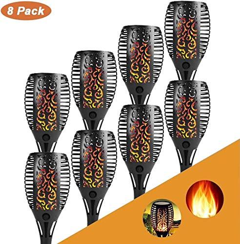 8 Stück Solarleuchte Gartenfackel Solarfackeln LED Bis Dawn Automatische Ein/Aus(Licht Sensor), Solarlampen für Außen LED Taschenlampe, soalr spotlight Außen Wasserdicht IP65 (B(ø7.2 * 50 cm))