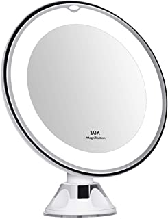 10X Magnifying Round Shape Makeup Mirror with Lights, LED Lighted Portable Hand Cosmetic, 360 Degree Rotation and Powerful Suction Cup, Good for Tabletop, Bathroom and Traveling
