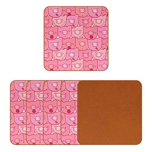 Posavasos de cuero para bebidas, diseño de cerdos rosas, sin costuras, cuadrados, para proteger muebles, resistente al calor, decoración de bar de cocina, juego de 6
