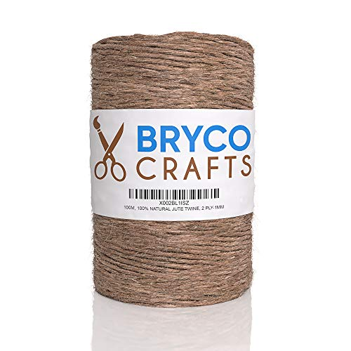 Jute Twine String for Crafts - 100M (328 Feet) - 100% Natural 2 Ply 1MM Thick