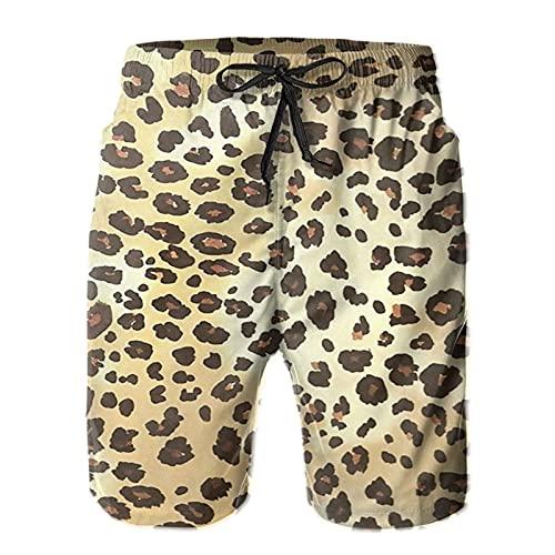 Olverz Pantalones cortos de playa con cordón de secado rápido con bolsillos de piel de leopardo