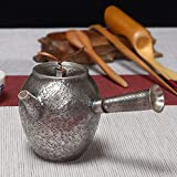 Tetera de plata de ley para agua caliente de té de leña, hecha a mano, estilo japonés, tetera plateada ZHQHYQHHX (color: 229 ml, 252 g, tamaño: gratis)