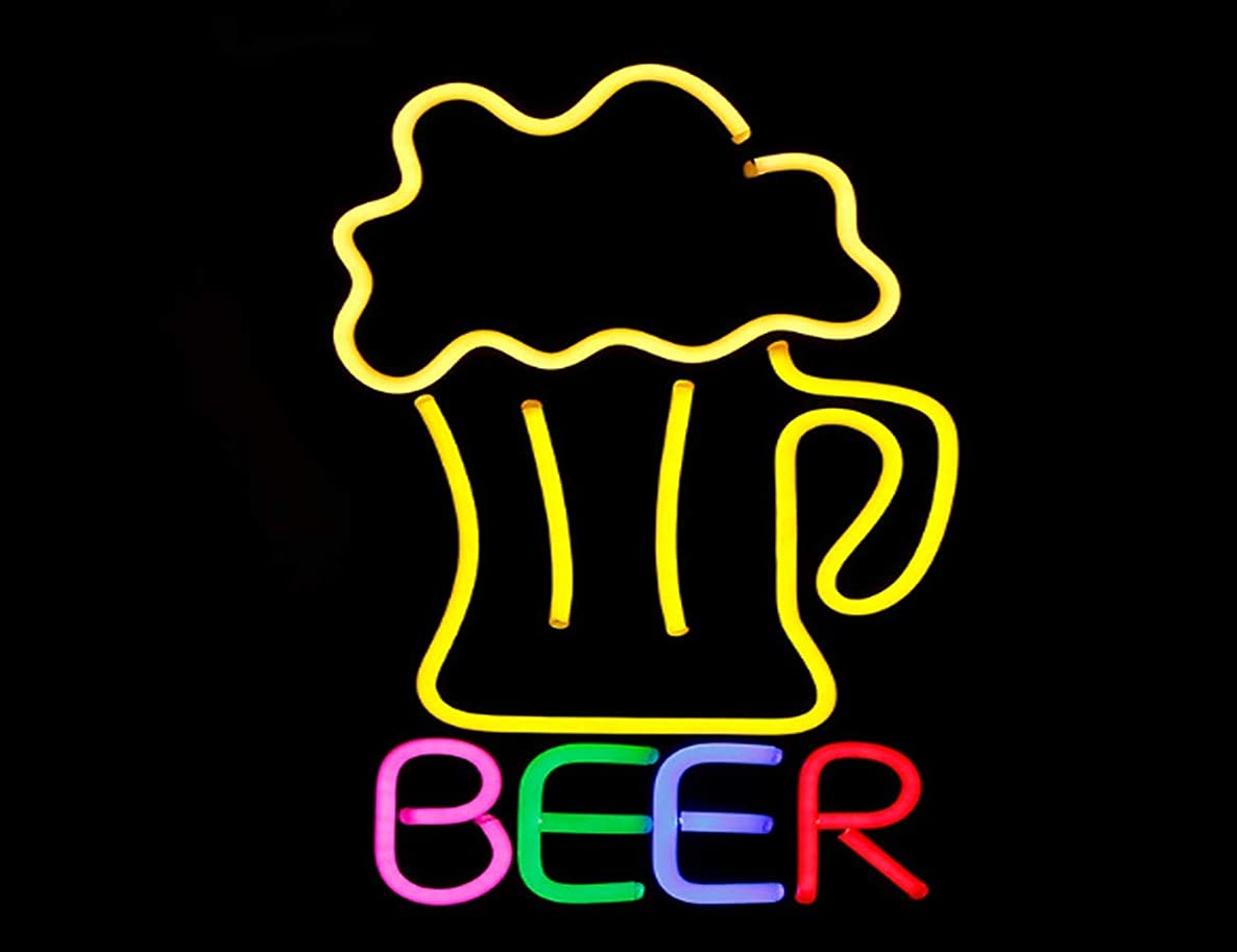 MOCHEN LED Neon Sign,Resin Billboard Beer Billboard Cocktails Bar Wine Drink Pub Club Dual Color LED Neon Sign,Suitable for Leisure Venues Such As Bars