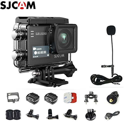 SJCAM SJ6 Legend 4K WiFi Action Camera Dual Screen- 2.0 Touchscreen/ 0.9 Front LCD Screen/ 170 Degree Wide Angel/Gyro Stabilization/External Microphone Supported+SJCAM Micphone+Extra 1pcs Battery