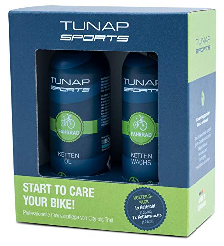 TUNAP SPORTS Kettenöl Spray und Dosier-Pinsel, 125 ml | Fahrrad Langzeit-Schmierung für Ritzel, Schaltwerk und Kette (2er-Set)