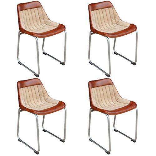 dondans Muebles Sillones de Cocina y Comedor, 4 sillas de Piel auténtica y Tela marrón y Beige; Ma