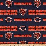 NFL Cotton Broadcloth Chicago Bears Orange/Navy,...