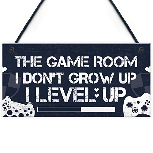 RED OCEAN Game Room Plaque Gamer Gaming Acessories Bedroom Door Sign Novelty Christmas Funny Gift For Brother Son Dad