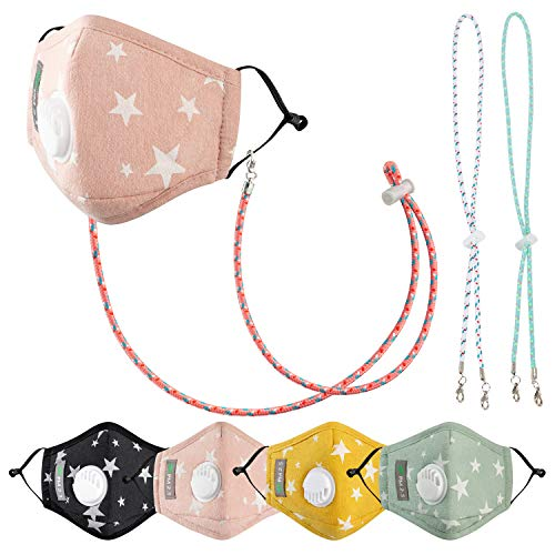 Children's Seamless Face Bandanas, with 8 Activated Carbon Filter, 2 M.a.s.k Lanyard (Star)
